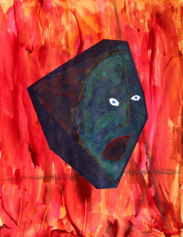 Who is Reborn.  (mixed media on paper)  (Atomic Geography) Who Is Reborn?